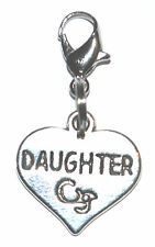 Tibetan Silver Love Heart Daughter Clip On Charms Pendant Free Gift Bag New