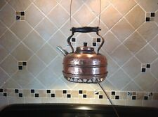 Old Vintage Copper Kettle, Converted to electric lamp. Upscaled antique lamp