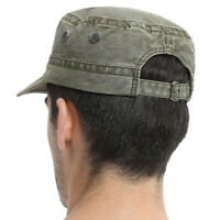 Men's Army Cap Solid Color Trendy Male Military Flat Cap Sun Hat Casual Hat T