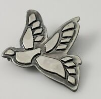 Vintage Dove Bird Brooch Pin Silver Pewter Tone Winged Figural Lovely Detail!