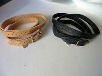 Two Leather Wrap Around Bracelet with 925 Silver Buckle with Hanging Heart
