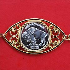 "1 Gram Miniature Buffalo Nickel .999 Fine Silver Round 8"" GP Linked Bracelet NOS"