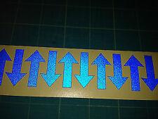 10 Pegatinas de flechas reflexivo/calcomanías 50 Mm Alta-Azul-verse Hi Viz grandes