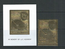 AJMAN 1960s KENNEDY JFK death anniversary (GOLD FOIL stamp and sheet PERF) NH