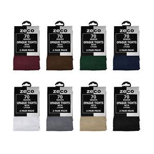 Zeco School Uniform Girls Opaque Tights 70 Denier Lycra, 2 per pack (GT3216)