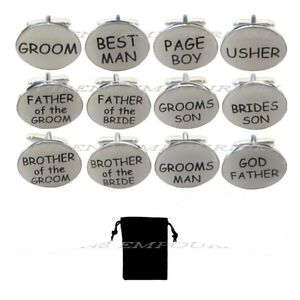Cream oval mens wedding cufflinks cuff link Groom best man usher page gift