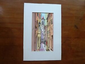 "Signed Patrick Hanin French Riviera Watercolor Street Scene 8 X 12"""