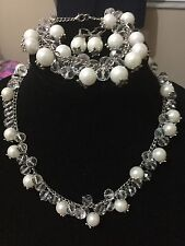 Vintage Egyptian Necklace Pearls Silver Mix.Crystals,Bracelet,Earings Set!!! WOW