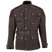 Spada Staffy Waxed Cotton Waterproof Motorcycle Motorbike Jacket - Brown