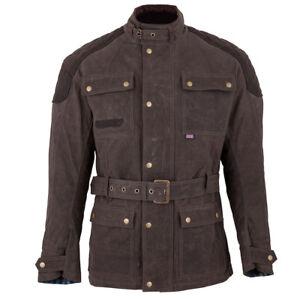 Spada Staffy Waxed Cotton Waterproof Motorcycle Motorbike Jacket - Brown