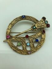Vintage Celtic Rhinestone Pin Scottish Penannular Kilt Brooch Goldtone