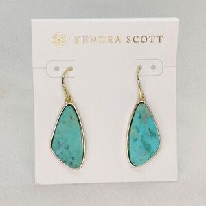 New Kendra Scott McKenna Drop Earrings In Green Sea Chrysocolla / Gold