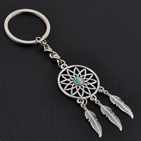 Fashion Dream Catcher Tone Key Chain Silver Ring Feather Tassel Keyring Keychain