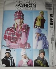 McCall's Pattern 4681 FLEECE FASHION ACCESSORIES hats mittens scarf scarves