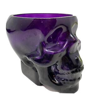 SKULL GLASS Cup Mug Bowl Vase Halloween EUC