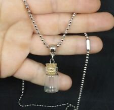 glass vial tiny empty fillable potion spell charm small bottle necklace