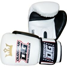 WHITE 'RAJA' SYNTHETIC LEATHER MUAY THAI KICKBOXING BOXING GLOVES