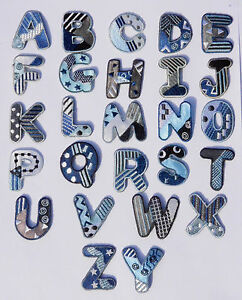 Boys Alphabet Letters & Numbers Embroidered Motif Fabric Iron On Patch Badge