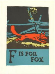 F IS FOR FOX by C B Falls, vintage wood block print, original published 1923