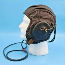 WWII US Navy USN Leather Flight Helmet Skull Cap Sz Large & Receiver AN6540-3L