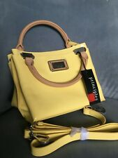 NWT yellow patent handbag Ben Di Lisi multi pockets, long strap/carry handles