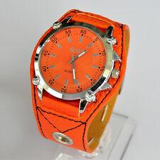 SOKI Orange Color Analog Quartz For Womens Girls Wrist PU leather Band Watch