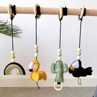 Flamingo Cactus Felt Cotton Wood Ring Baby Teething Play Gym Toy Activity Rattle