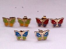 3 PAIRS of TINY BRASS CLOISONNE STYLE 8mm BUTTERFLY STUD EARRINGS £12.95 NWT