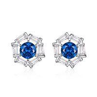 18k white gold gp made with swarovski crystal stud earrings sapphire blue AEIWO