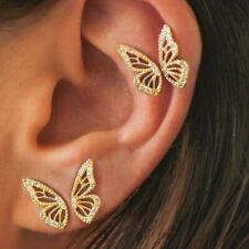 4pcs Fashion Gold Rhinestone Butterfly Wing Earrings Women Crystal Ear Stud Gift