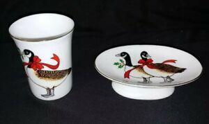 VTG Christmas Geese Red Ribbon Porcelain Soap Dish & cup set
