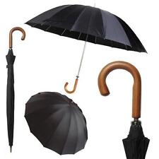 DELUX Heavy Duty Wooden Crook Handle Doorman Style Stick Umbrella BLACK