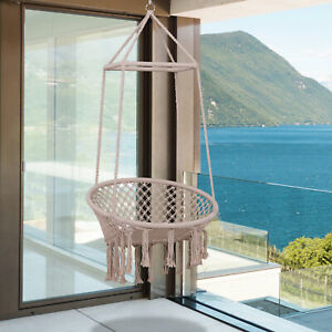 Outsunny Hammock Macrame Swing Chair Hanging Twisted Rope Tassels Indoor Outdoor