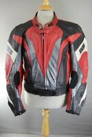 IXS BLACK, RED, SILVER & WHITE LEATHER BIKER JACKET + REMOVABLE CE ARMOUR 42 IN