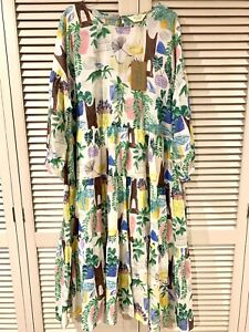 "New! Stunning GORMAN ""Green Library"" Cotton Dress -  size 16"