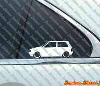 2x Lowered car outline stickers - for Fiat Uno Turbo classic hatchback