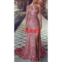 Wedding Evening Dress Long Sequins Blush Mermaid fishtail Party skirt