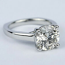 1.50 Carat Solitaire Round Cut Diamond Engagement Ring VS2/I 14k White Gold