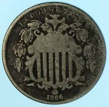 1866 Shield Nickel With Rays 5 Cent Piece Coin -valuable like silver- Lot H945