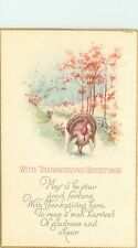 Antique DB Holiday Postcard L001 Thanksgiving Greetings Turkey Oak Trees Poem