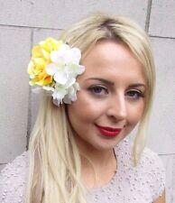 Ivory Cream Yellow Hydrangea Rose Flower Hair Clip Fascinator Bridesmaid 3299