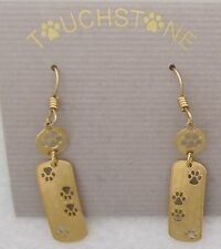 Paw Print  Jewelry Gold Down and Back Dangle Earrings