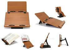 Double Book Stand Reading Desk Portable Bookmark Holder Cookbook Solid Wood New