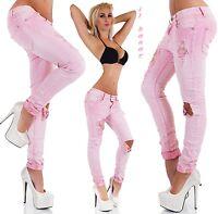 SEXY Jeans boyfriend BABY PINK strappi&ricami tg XS,S,M,L,XL