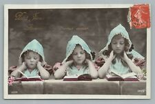 """""""Little Jesus Teach Me to Love You"""" Catholic Girls RPPC Antique French Photo 10s"""