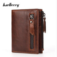 Men's Genuine Leather Cowhide Bifold Wallet Credit Card ID Holder Zipper Purse