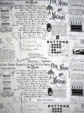 Quilting B's Vintage Sew Notion Ads Ecru Cotton Fabric QT Wecker Frisch - Yard