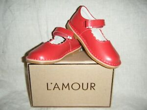 New L'AMOUR Shoes Caitlin Girls Red Mary Jane Leather Mary Jane in Box F-488 NIB