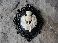 SCOTTISH THISTLE CAMEO PENDANT - BLACK SETTING - SCOTLAND