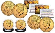 2018 24K GOLD Clad JFK Kennedy Half Dollars 2-Coin Set P&D MINT w/COA & HOLDERS